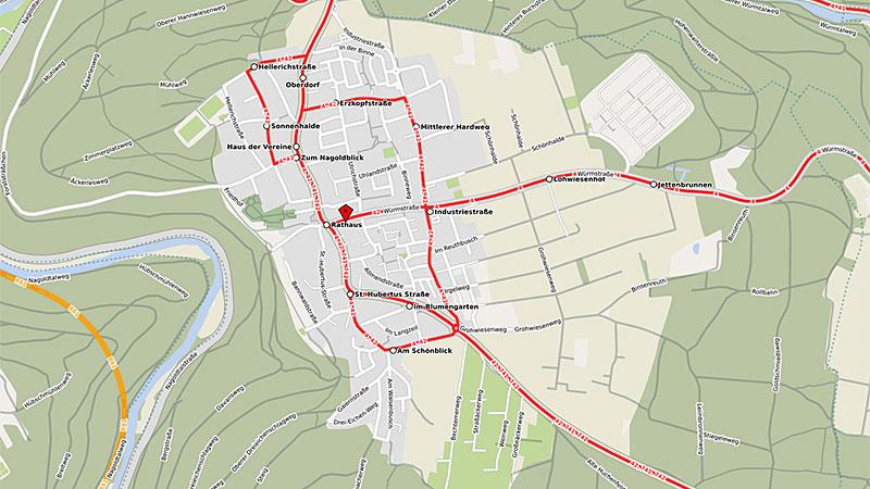 Karte Huchenfeld